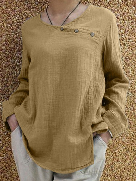Plus Size Solid Long Sleeve Casual Buttoned Tops
