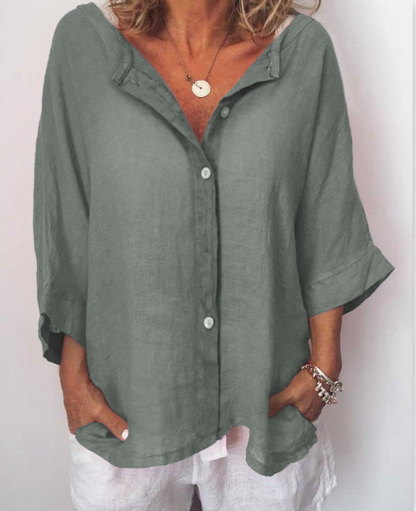 Women Plus Size Casual Solid V Neck 3/4 Sleeve Tops