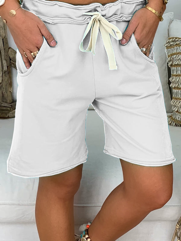 Drawstring Waist Plus Size Shorts Pants