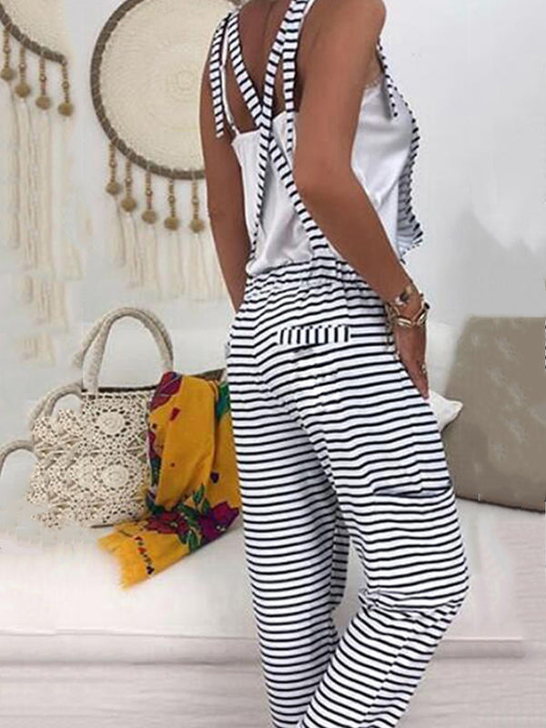 Holiday Striped Sleeveless Pockets Jumpsuit