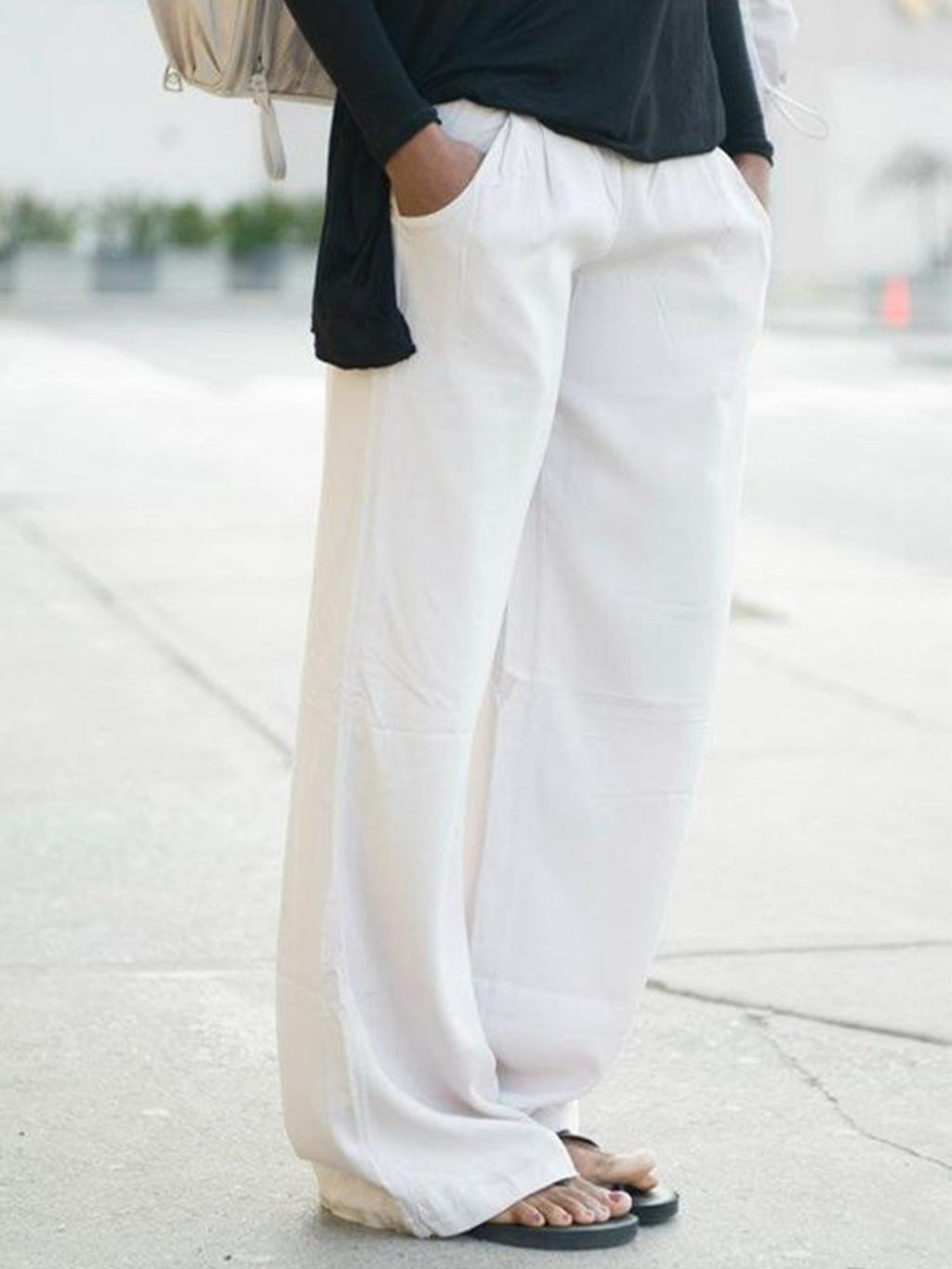 Women White  Loose Solid Casual Pants