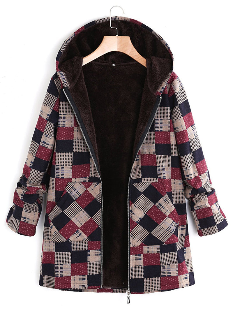 Burgundy Long Sleeve Plaid Cotton Coat