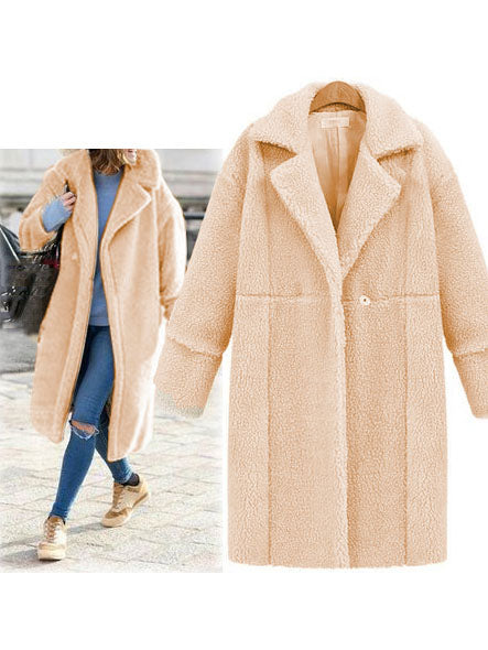 Solid Long Sleeve Buttoned Wool Coat