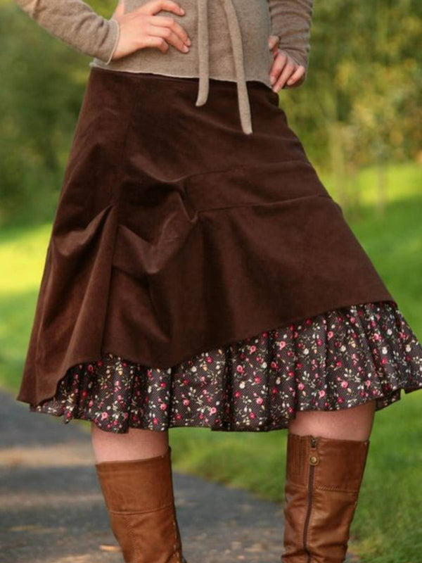Coffee Cotton-Blend Casual Skirts