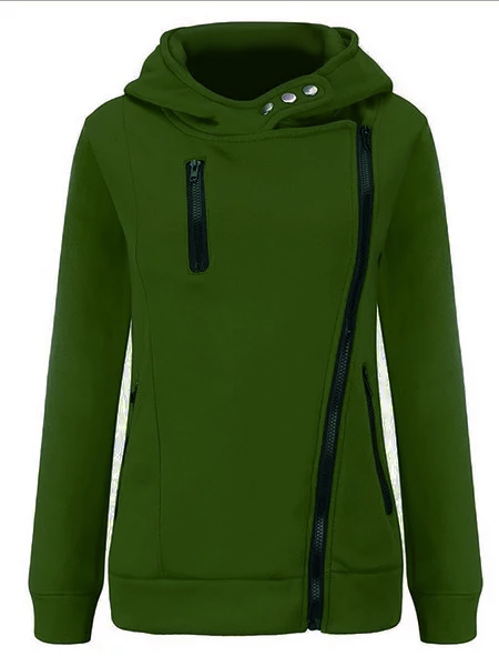 Casual Long Sleeve Zipper Hooded Coat