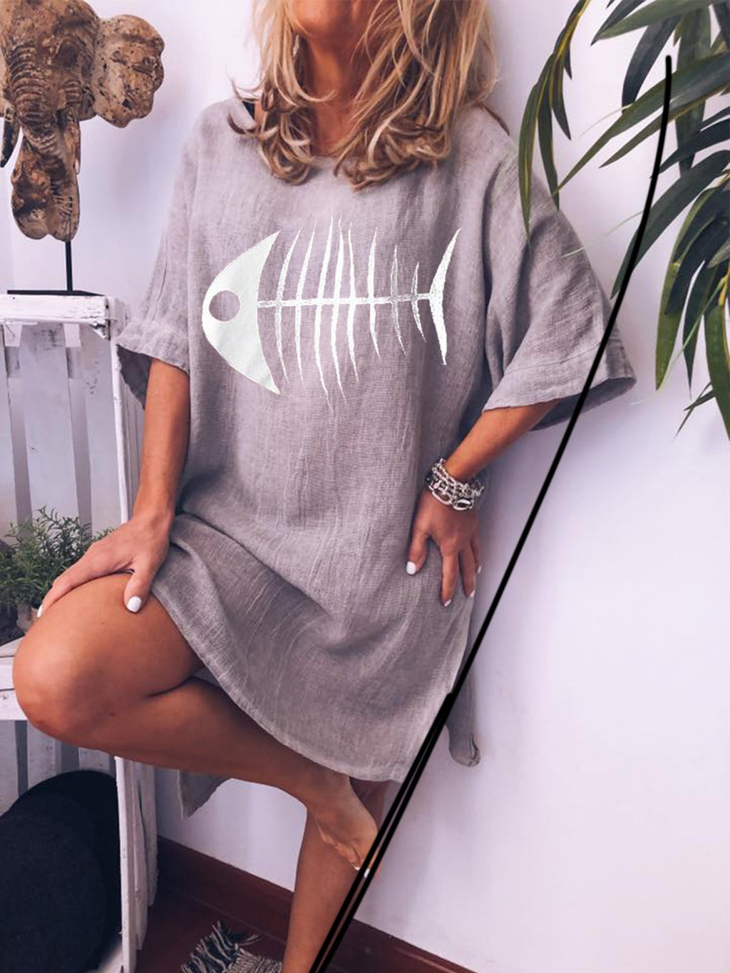 Crew Neck Cotton Printed Short Sleeve Mini Dress