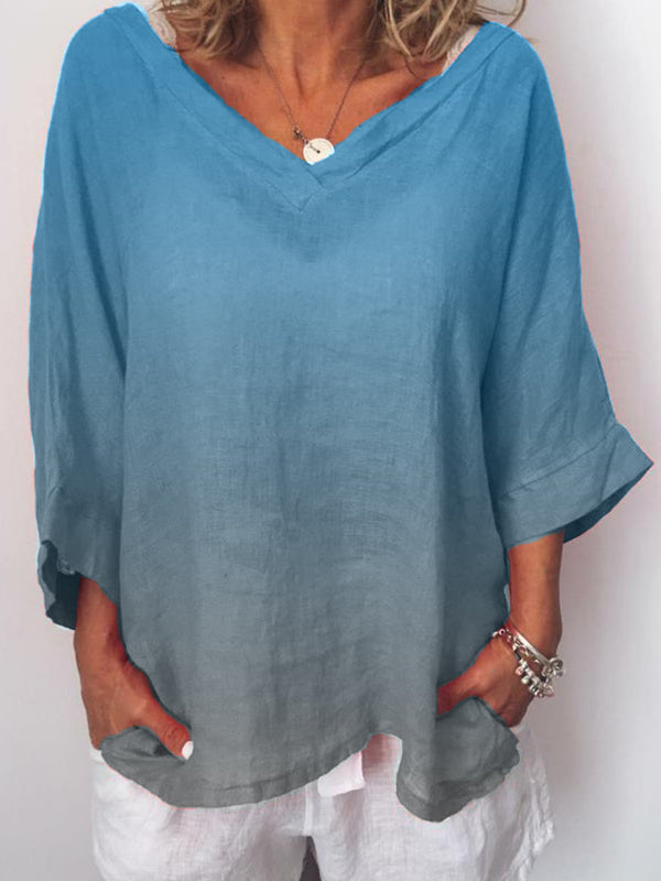 Women Plus Size Casual  V Neck 3/4 Sleeve Blouse