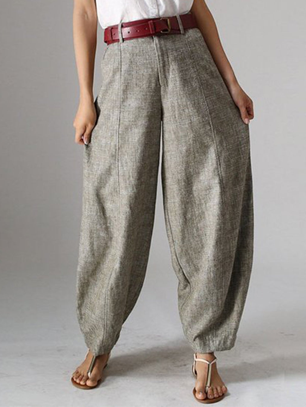 Woman High Waist Plain Linen Casual Pants