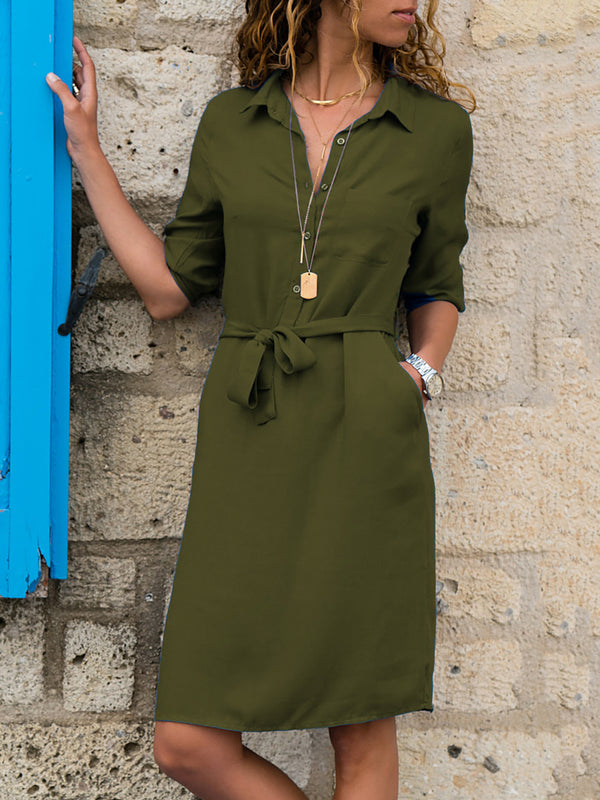 Pockets Long Sleeve Casual Dresses