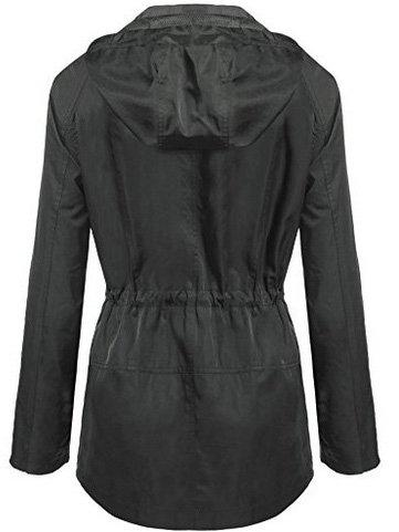 Drawstring Long Sleeve Hooded Zipper Coat