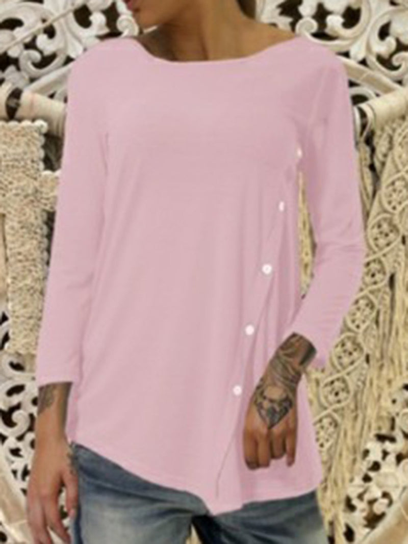 Buttoned Long Sleeve Cotton-Blend T-Shirts