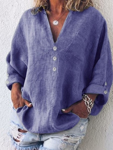 Cotton-Blend V Neck Shirts & Tops