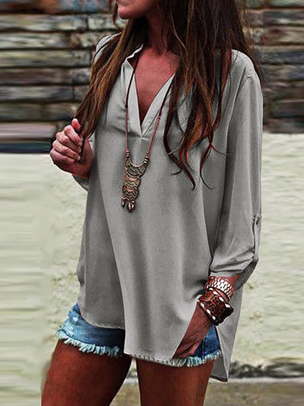 Women V neck Slit Long Sleeve Blouse