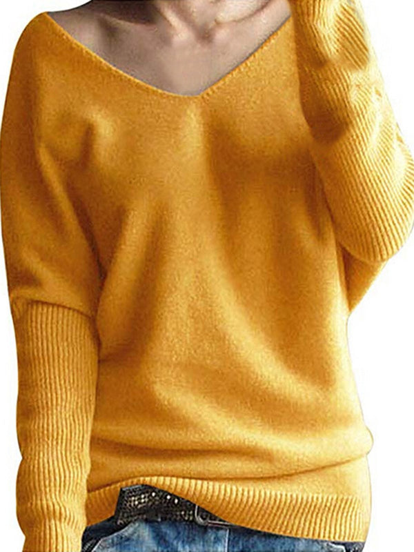 4 Colors V Neck Simple & Basic Sweaters