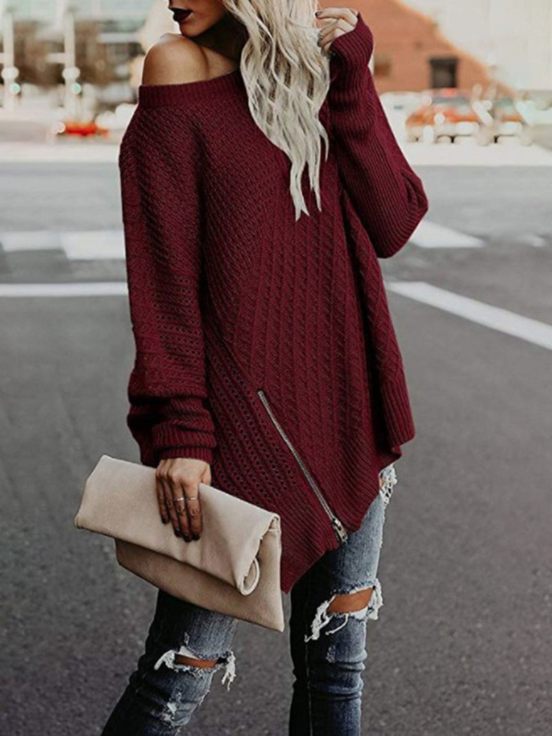 Casual Paneled Crew Neck Sweater