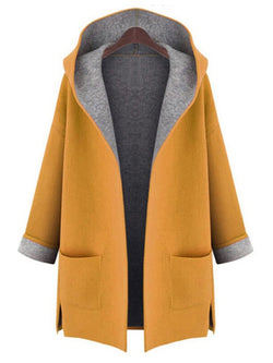 Casual Pockets Open Front Hooded Coat