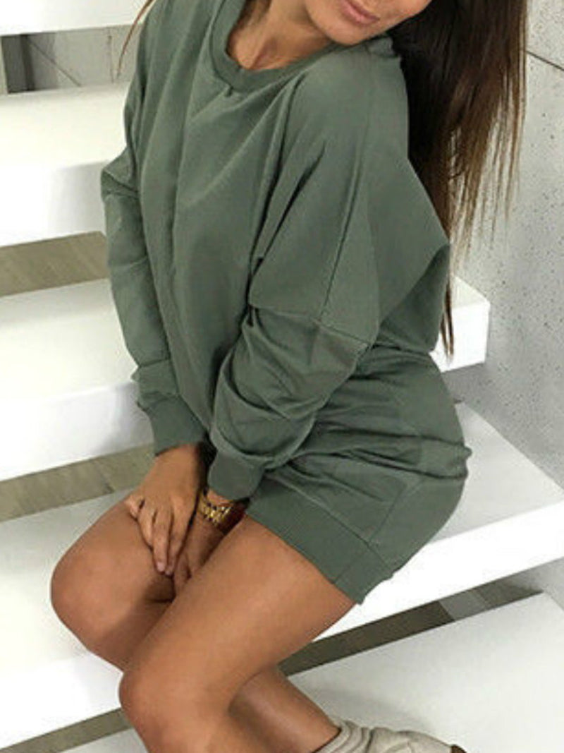 Casual Long Sleeve Daily Mini Dress
