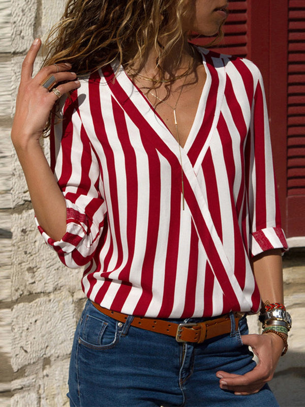 Blouses V-Neck Casual T-Shirts