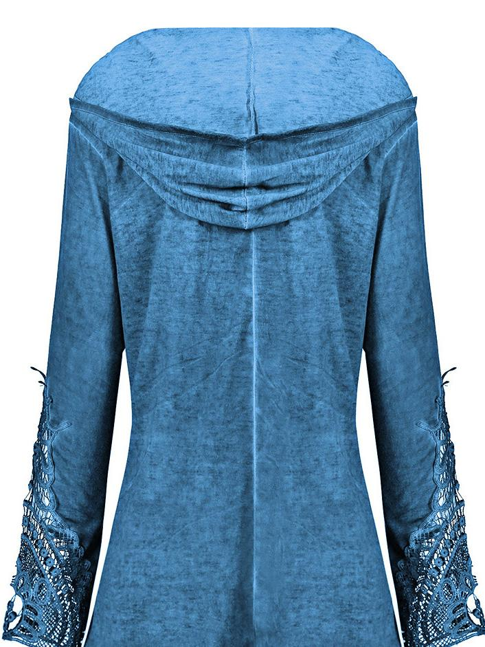 Casual Lace Trim Plus Size Hooded Top