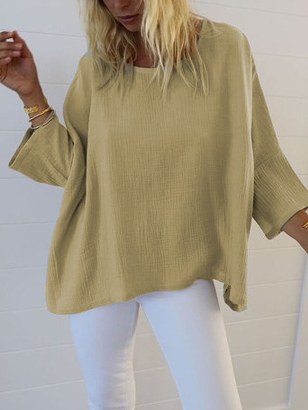 Women Plus Size Casual 3/4 Sleeve Round Neck Blouse