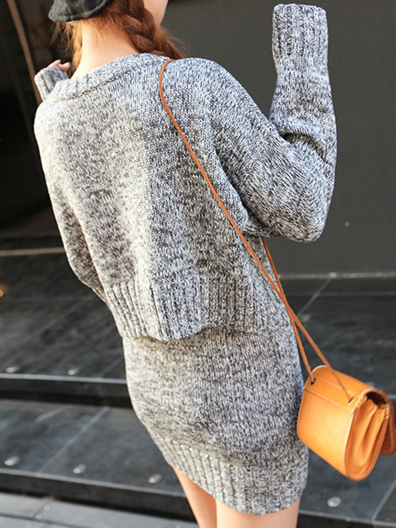 Casual Two Piece Knitted Sweater