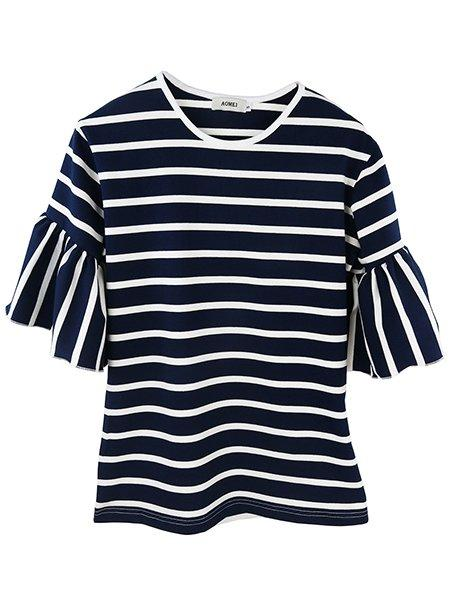 Crew Neck Striped Bell Sleeve Tee
