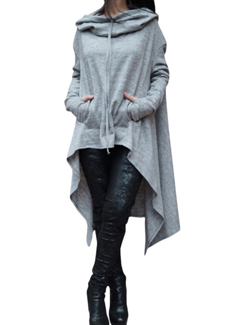 Long Sleeve Asymmetric Cotton High Low Hoodie