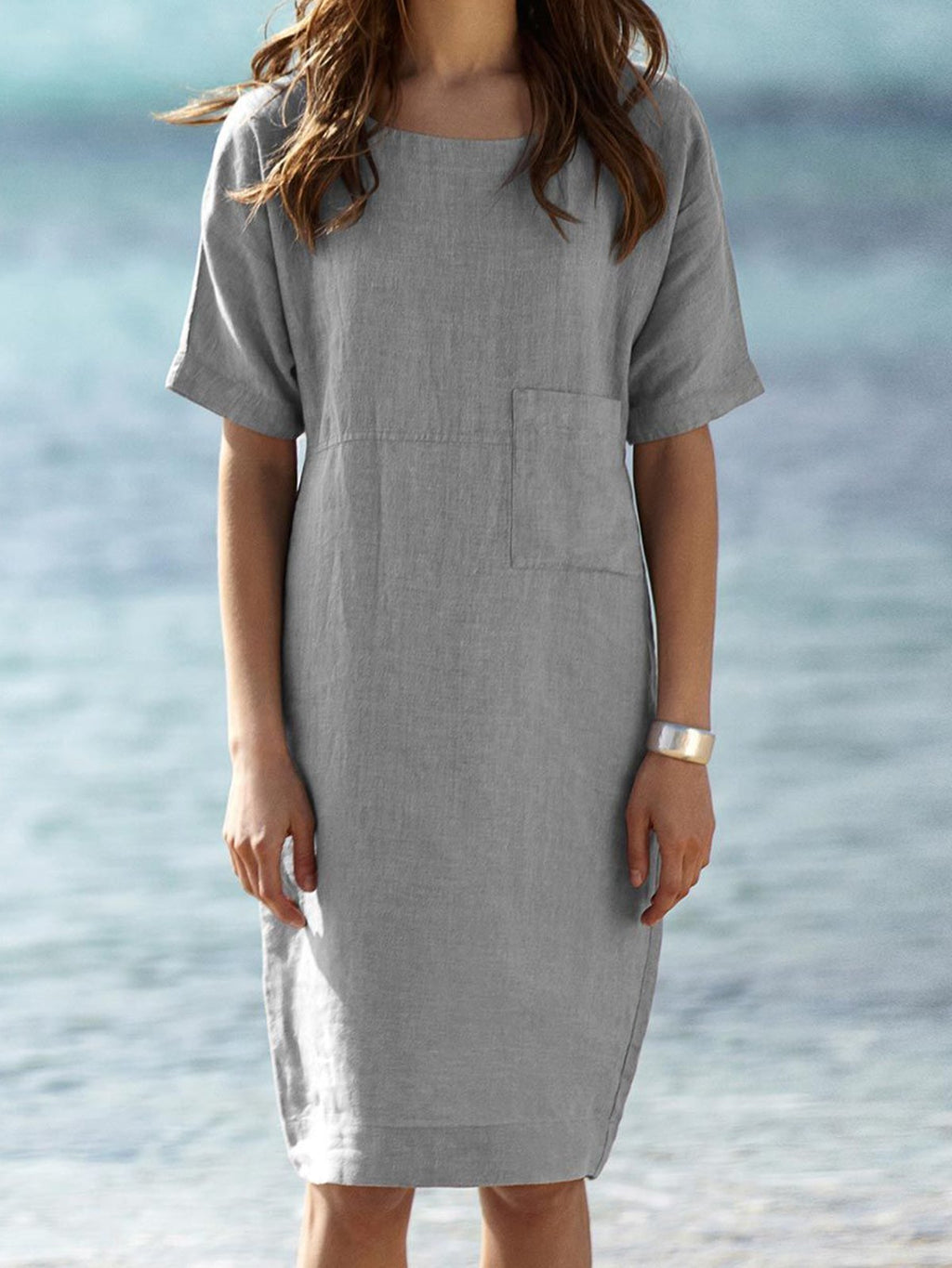 Crew Neck Women Dresses Paneled Solid Dresses