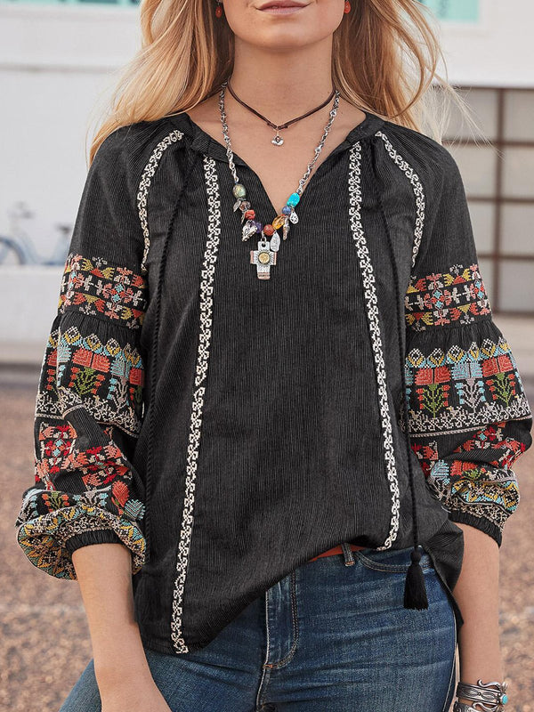 Long Sleeve V Neck Casual Floral Shirts & Tops