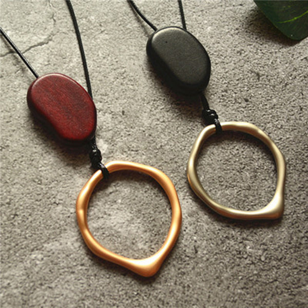Handmade Geometry Oval Wooden Beads Necklace