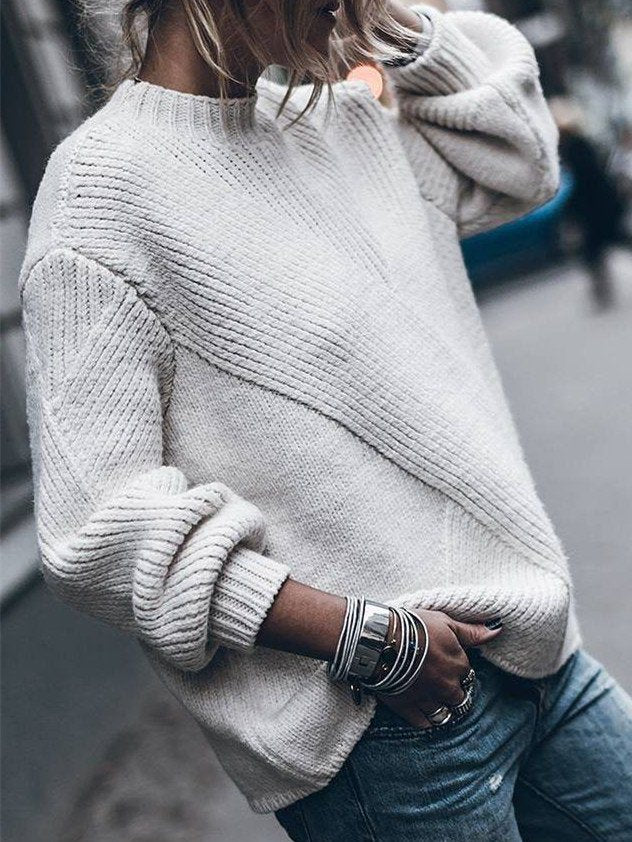 Round Neck Cotton-Blend Long Sleeve Sweater