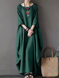 Dress Casual Solid Cotton Crew Neck Dress