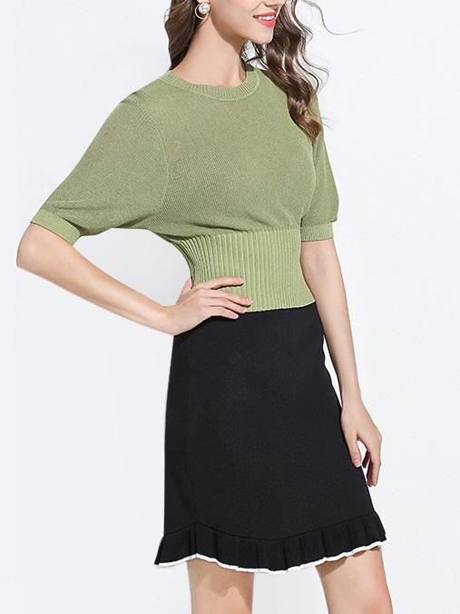 Crew Neck Batwing Sleeve Knitted T-Shirt
