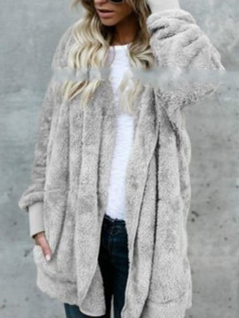 Casual Batwing Hoodie Fluffy Long Sleeve Coat
