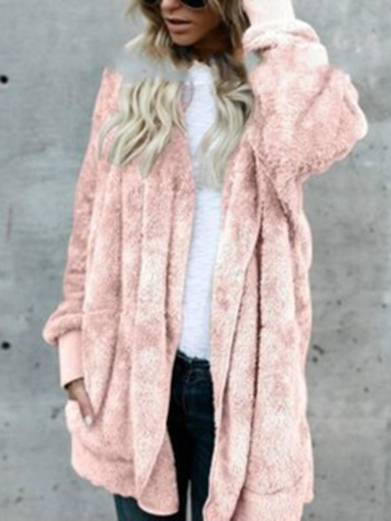 Cotton Shift Batwing Fluffy Coat
