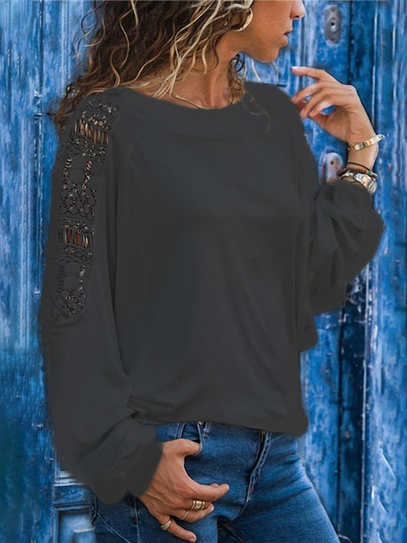 Lace Solid Cutout Long Sleeve T-Shirts