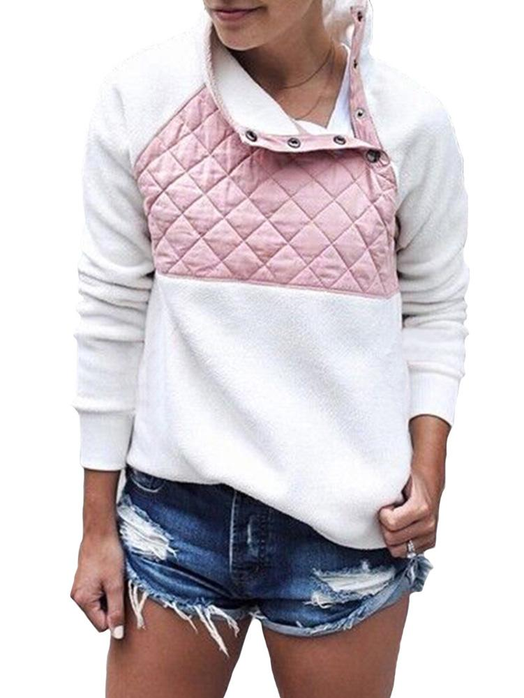 Casual Long Sleeve Color Block Sweatshirt
