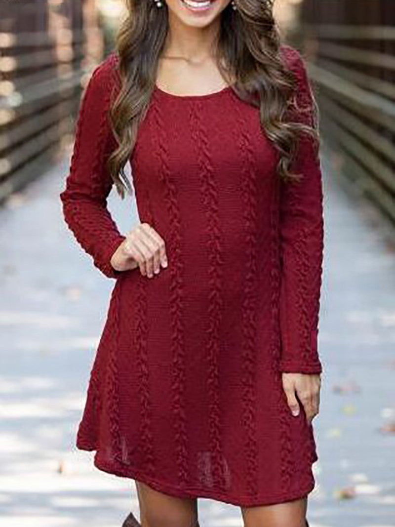 Casual Long Sleeve A Line Knitted Dress