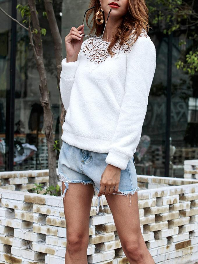 Crew Neck Long Sleeve Fluffy Sweatshirt