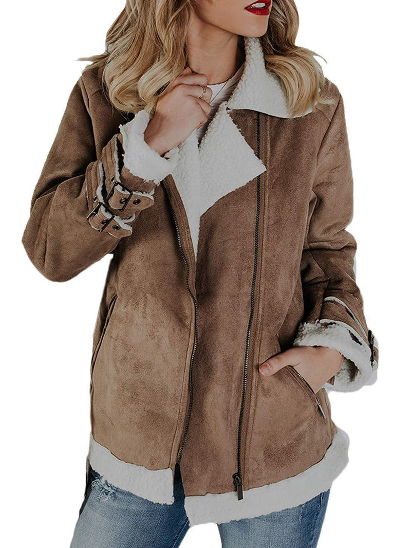 Casual Leather-Paneled Zipper Coat