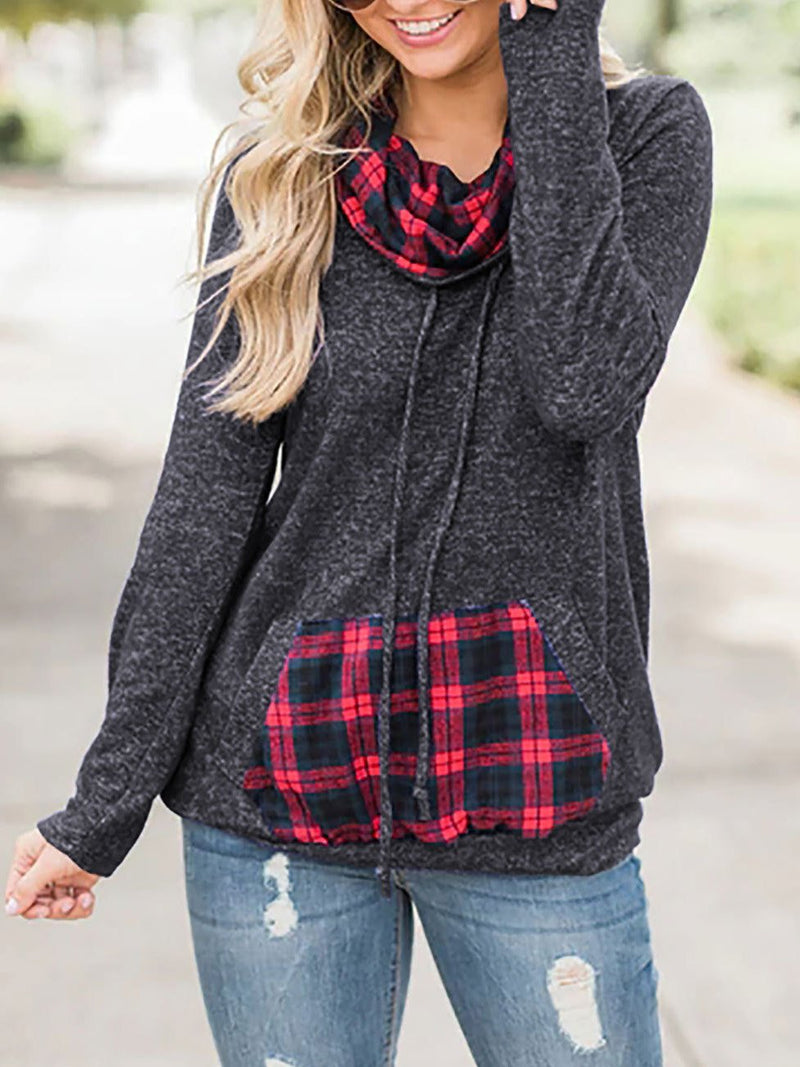 Casual Plaid Pocket Long Sleeve Top