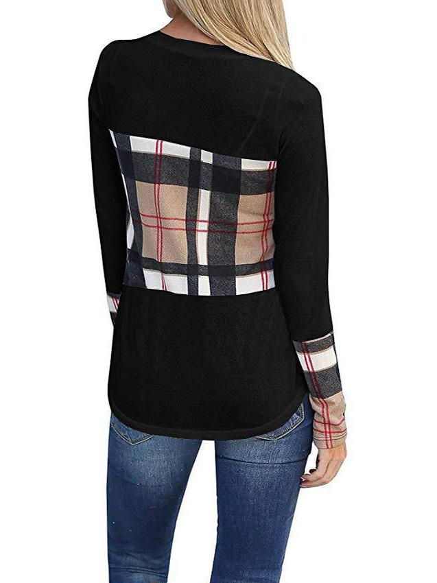 Casual Checkered plaid Long Sleeve Top