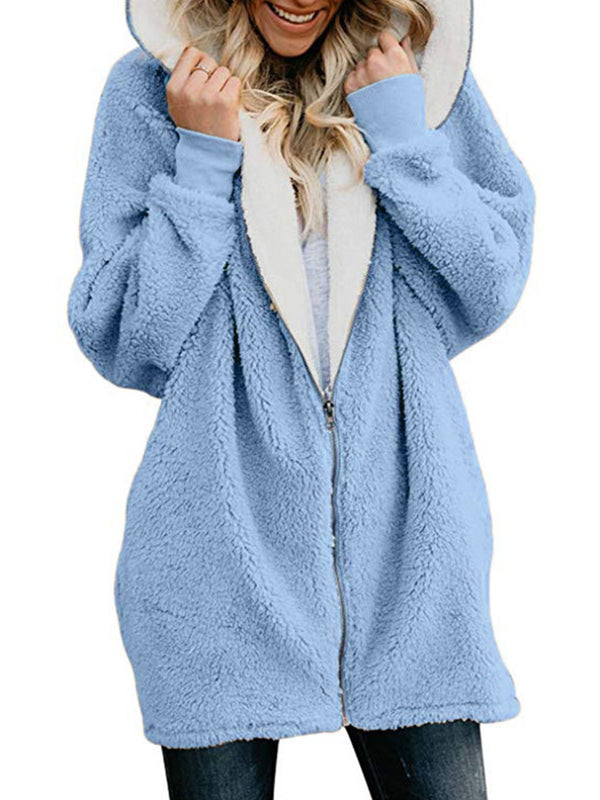 Zipper Sweet Cashmere Long Sleeve Coat