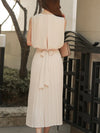 Chiffon Pleated Sleeveless Maxi Dress