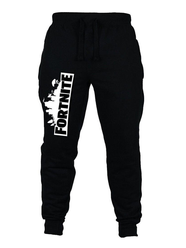Fortnite Black Cotton Casual Pants For Kids
