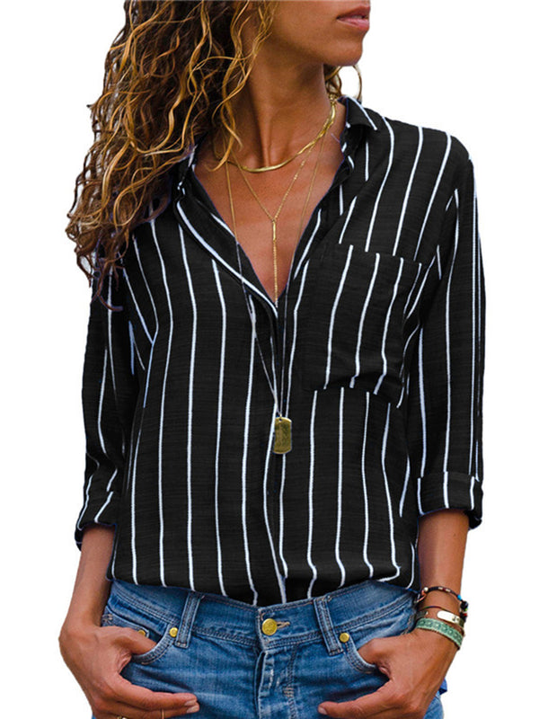 Plus Size Fashion Long Sleeved Striped Shirts