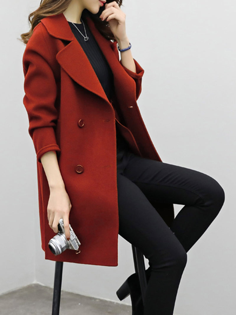 Casual Long Sleeve Solid H-line Pea Blend Coat