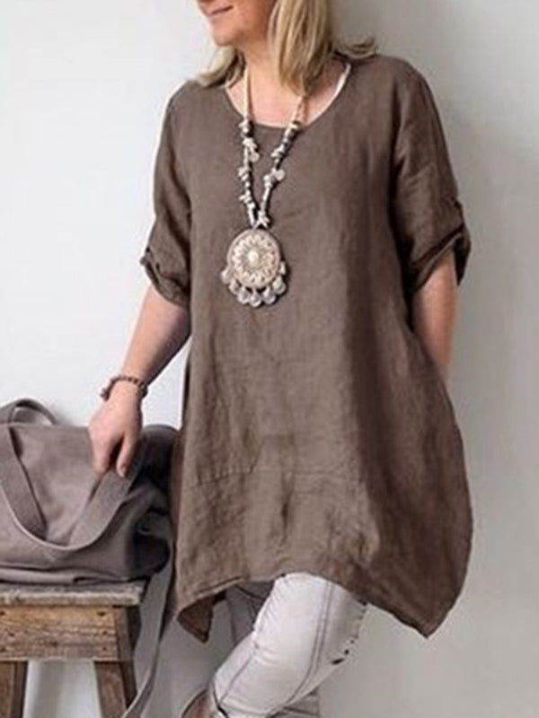 Women Plus Size Crew Neck Solid Cotton And Linen Short Sleeve Blouse