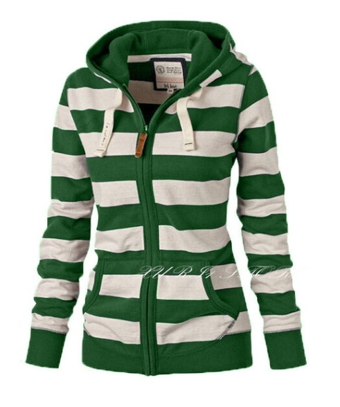 Casual Long Sleeve Striped Cotton Women Coats
