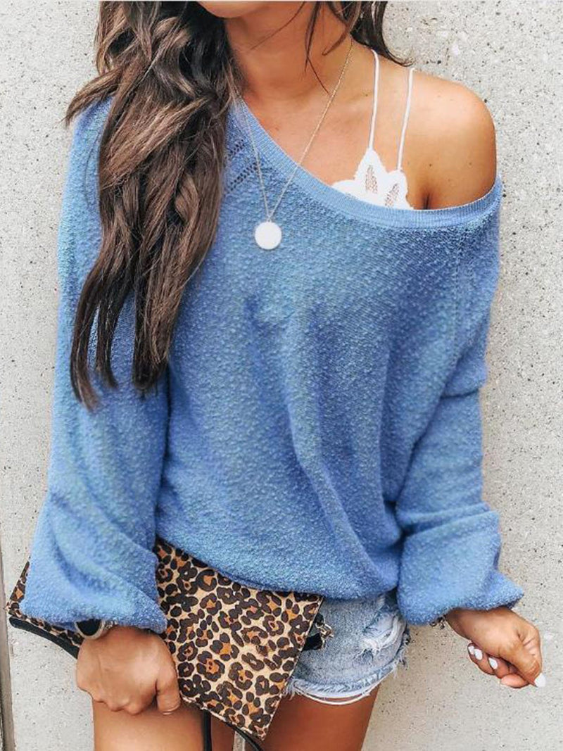 Casual Long Sleeve Skew Neck Top
